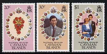 Cayman Islands 1981 Royal Wedding set of 3 unmounted mint, SG 534-36