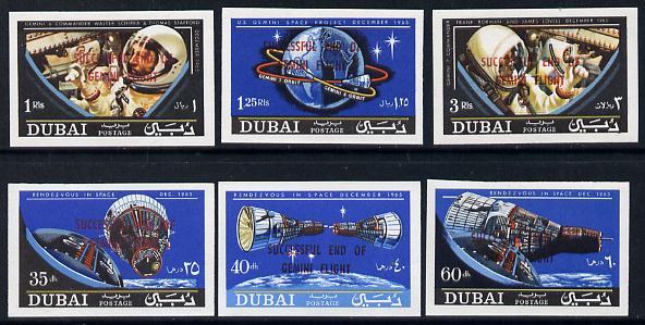 Dubai 1967 Gemini imperf set of 6 with 'Flight Success' overprint, SG 226-31var unmounted mint
