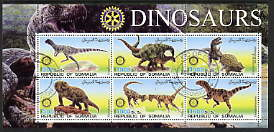 Somalia 2002 Dinosaurs perf sheetlet #1 containing six values each with Rotary Logo, fine cto used