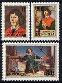 Mongolia 1973 Birth Anniversary of Nicolaus Copernicus (astronomer) perf set of 3 unmounted mint, SG 749-51