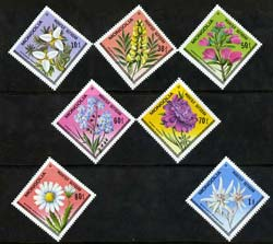Mongolia 1979 Flowers Diamond shaped perf set of 7 unmounted mint, SG 1189-95