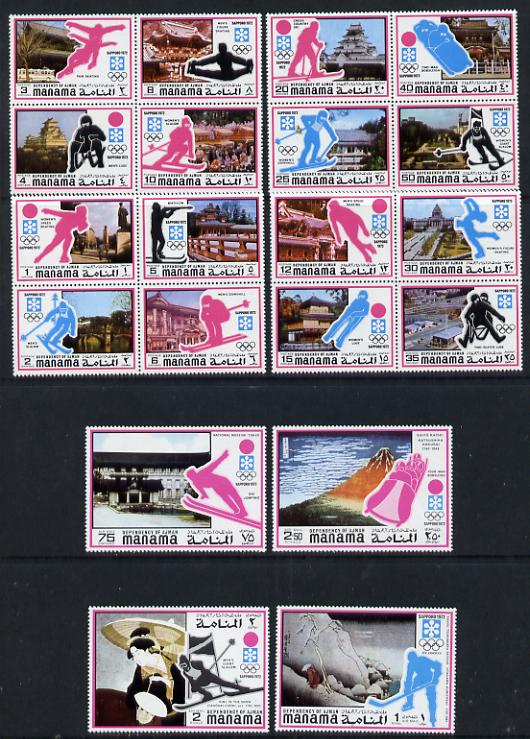 Manama 1971 Sapporo Winter Olympics (2nd issue) perf set of 20 values unmounted mint, Mi 376-95A