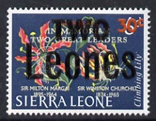 Sierra Leone 1964-66 Surcharged 5th issue 2L on 30c on 6c (Churchill opt on Lily) unmounted mint SG 365*