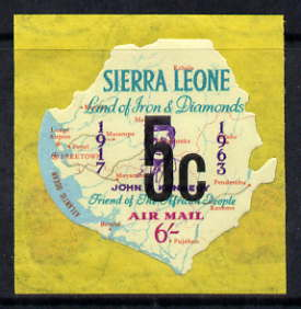 Sierra Leone 1964-66 Surcharged 4th issue 5c on 6s (Kennedy & Map) unmounted mint SG 364*