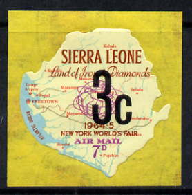 Sierra Leone 1964-66 Surcharged 4th issue 3c on 7d (Globe & Map) unmounted mint SG 358