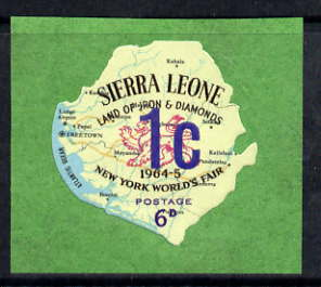 Sierra Leone 1964-66 Surcharged 4th issue 1c on 6d (Lion & Map) unmounted mint SG 351*