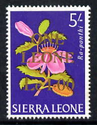 Sierra Leone 1964-66 Surcharged 2nd issue 1L on 5s (Flower) unmounted mint SG 332