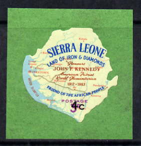 Sierra Leone 1964-66 Surcharged 2nd issue 4c on 3d (Kennedy & Map) unmounted mint SG 330*