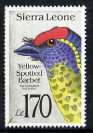 Sierra Leone 1992 Barbet Bird 170L unmounted mint, SG 1832