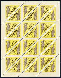 Liberia 1953 Hornbill 4c Triangular imperf on 2 sides, unmounted mint complete sheet of 24, as SG 737