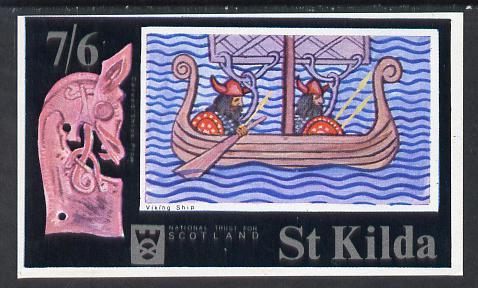 St Kilda 1971 Ships (Viking Ship) imperf souvenir sheet (7s6d value) unmounted mint