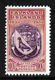 Falkland Islands 1933 Centenary 10s Coat of Arms,  'Maryland' perf forgery 'unused', as SG 137 - the word Forgery is either handstamped or printed on the back and comes on a presentation card with descriptive notes