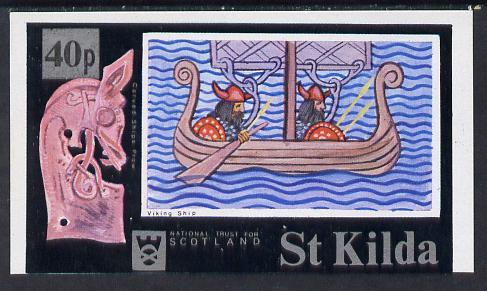 St Kilda 1971 Ships (Viking Ship) imperf souvenir sheet (40p on 7s6d value) unmounted mint, stamps on ships, stamps on vikings, stamps on figureheads