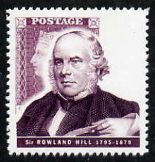 Great Britain 1995 Pioneers of Communications 25p (Sir Rowland Hill) with silver (value & Queen's Head) omitted,  'Maryland' perf forgery 'unused' as SG 1888a - the word Forgery is either handstamped or printed on the back and comes on a presentation card with descriptive notes