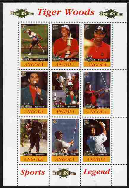 Angola 2009 Golf Grand Slam - Tiger Woods #1 perf sheetlet containing 9 values unmounted mint. Note this item is privately produced and is offered purely on its thematic appeal