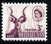 Rhodesia 1966 Kudu 3d with pale blue omitted,  'Maryland' perf forgery 'unused' as SG 376b - the word Forgery is either handstamped or printed on the back and comes on a presentation card with descriptive notes