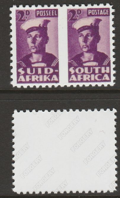South Africa 1942-44 KG6 War Effort (reduced size) 2d Sailor horiz pair with roulette omitted between,  'Maryland' perf forgery 'unused' as SG 100b - the word Forgery is either handstamped or printed on the back and comes on a presentation card with descriptive notes