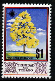 Trinidad & Tobago 1969 Poui Tree $1 with gold (Queen's Head) omitted,  'Maryland' perf forgery 'unused', as SG 352a - the word Forgery is either handstamped or printed on the back and comes on a presentation card with descriptive notes