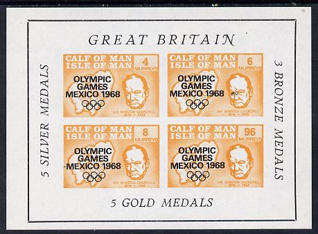 Calf of Man 1968 Olympic Games Mexico overprinted on Churchill imperf m/sheet (4, 6, 8 & 96m orange) additionally opt