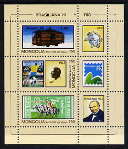 Mongolia 1979 'Brasiliana 79' Stamp Exhibition perf sheetlet containing set of 3 values plus 3 labels unmounted mint, SG MS1233