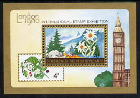 Mongolia 1980 'London 1980' Stamp Exhibition perf m/sheet (Flowers) unmounted mint, SG MS 1265