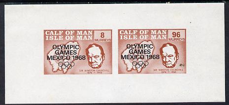 Calf of Man 1968 Olympic Games Mexico overprinted on Churchill imperf m/sheet (8 & 96m brown) unmounted mint, (Rosen CA128MS)