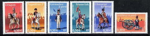 France 2004 Napoleonic Uniforms perf set of 6 unmounted mint