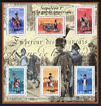 France 2004 Napoleonic Uniforms perf m/sheet containing set of 6 (with premium for Red Cross) unmounted mint