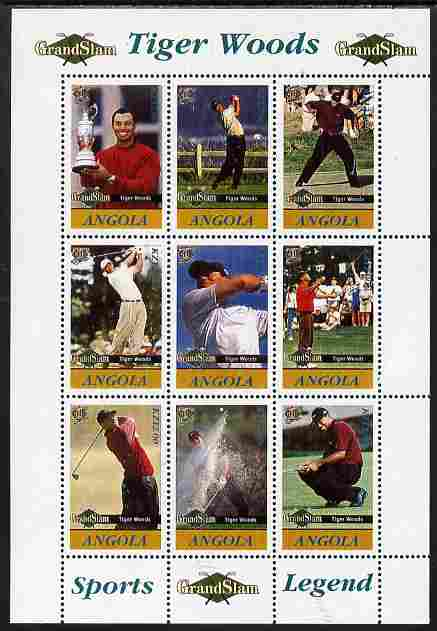 Angola 2009 Golf Grand Slam - Tiger Woods #2 perf sheetlet containing 9 values unmounted mint. Note this item is privately produced and is offered purely on its thematic appeal