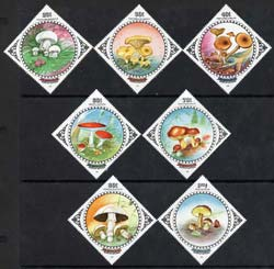Mongolia 1985 Fungi Diamond shaped perf set of 7 unmounted mint, SG 1711-17