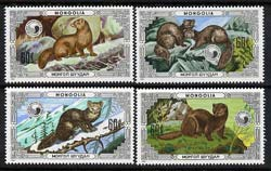 Mongolia 1986 Mink perf set of 4 unmounted mint, SG 1743-46
