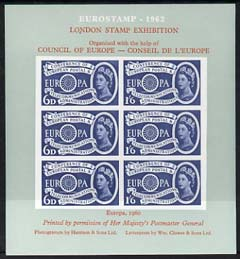 Exhibition souvenir sheet for 1962 London Stamp Exhibition showing Great Britain Europa 1s6d stamp block of 6 (grey background) unmounted mint