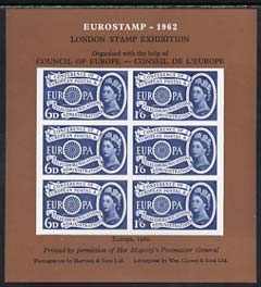 Exhibition souvenir sheet for 1962 London Stamp Exhibition showing Great Britain Europa 1s6d stamp block of 6 (brown background) unmounted mint