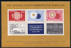 Exhibition souvenir sheet for 1961 Stampex showing four unadopted Europa designs for Finland plus the 1960 accepted design unmounted mint