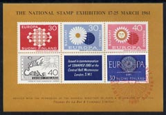 Exhibition souvenir sheet for 1961 Stampex showing four unadopted Europa designs for Finland plus the 1960 accepted design, with Exhibition cachet in red, unmounted mint