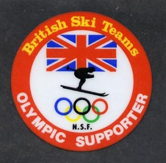 Cinderella - Great Britain 1980's Circular plastic window label 'British Ski Teams - Olympic Supporter', Skier, Olympic Rings & Union Jack on backing paper