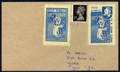 Cinderella - 1991 cover with blue on yellow 'Free Kuwait' and 'S a ddam Shame' imperf labels with commercial cancel