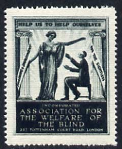 Cinderella - WW1 (?) perf label in dark green for Association for Welfare for the Blind showing