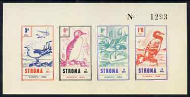 Stroma 1964 Europa (Birds) imperf sheetlet containing set of 4 on buff paper unmounted mint