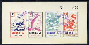 Stroma 1964 Europa (Birds) imperf sheetlet containing set of 4 on buff paper cto used