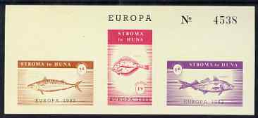 Stroma 1963 Europa imperf sheetlet containing set of 3 fish on buff paper unmounted mint