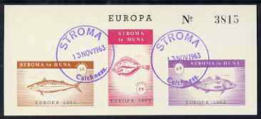 Stroma 1963 Europa imperf sheetlet containing set of 3 fish on buff paper cto used