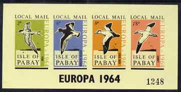 Pabay 1964 Europa (Birds) imperf sheetlet containing set of 4 on yellow paper unmounted mint (Rosen PA17)