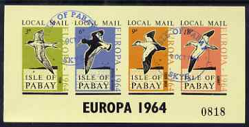 Pabay 1964 Europa (Birds) imperf sheetlet containing set of 4 on yellow paper cto used