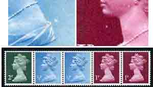 Great Britain 1971 Machin multi-value coil (2p,1/2p,1/2p,1p,1p) with constant variety 'large white spot behind dress on 2nd 1/2p' and 'white flaw under chin on 1st 1p' (ex G1 coil roll 9) unmounted mint