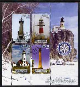 Gambia 2003 Lighthouses perf sheetlet containing 4 values with Rotary logo, fine cto used