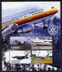 Gambia 2003 Aircraft perf sheetlet containing 4 values with Rotary logo, fine cto used