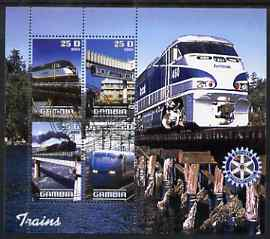 Gambia 2003 Modern Trains perf sheetlet containing 4 values with Rotary logo, fine cto used