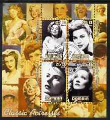 Gambia 2003 Classic Actresses perf sheetlet containing 4 values, fine cto used (Monroe, Grace Kelly, M Dietrich & I Bergman)