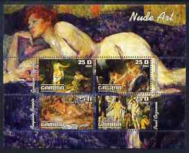 Gambia 2003 Nude Art perf sheetlet containing 4 values, fine cto used (Renoir, Courbet, Boucher & Cezanne)